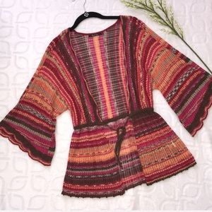 NIC & ZOE Linen Blend Boho Striped Cardigan Medium